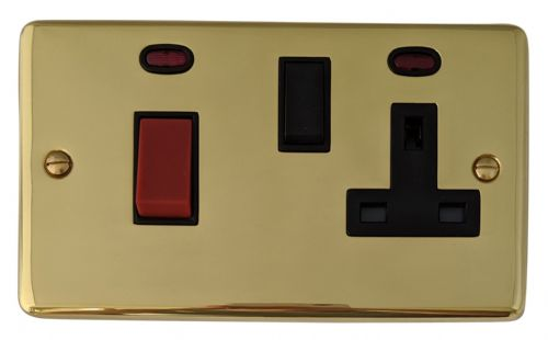 G&H CB29B Standard Plate Polished Brass 45 Amp DP Cooker Switch & 13A Switched Socket